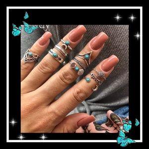 Jewelry - Beautiful 10pc bohemian turquoise ring set